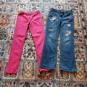 JUSTICE lot of 2 pairs of jeans Girl's size 14 R